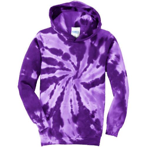 Tie Dye Purple Youth Pullover Hooded Sweatshirt