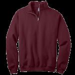 Maroon 1/4-Zip Cadet Collar Sweatshirt