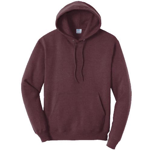Heather Maroon Pullover Hooded Sweatshirt