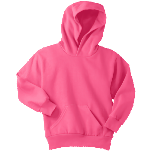 Neon Pink Youth Pullover Hooded Sweatshirt