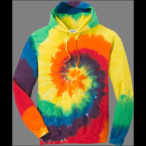 Rainbow Tie-Dye Pullover Hooded Sweatshirt