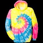 Neon Rainbow Tie-Dye Pullover Hooded Sweatshirt