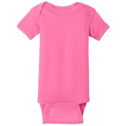 Hot Pink (Infant Short Sleeve Baby Rib Bodysuit)