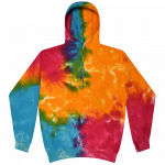 Multi Rainbow Tie-Dye Pullover Hooded Sweatshirt