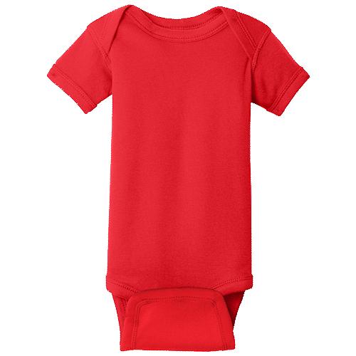 Red (Infant Short Sleeve Baby Rib Bodysuit)