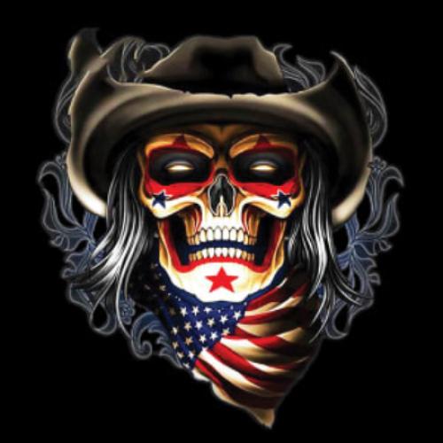 Skull (cowboy w/ flag)