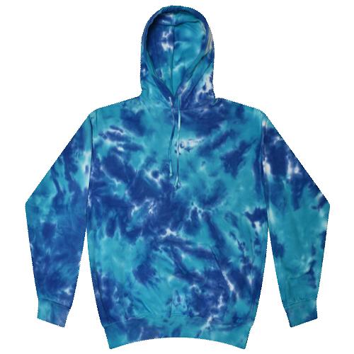 Multi Blue Tie-Dye Pullover Hooded Sweatshirt