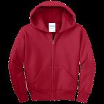 Red Youth Full-Zip Hooded Sweatshirt