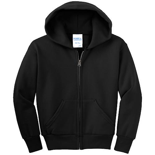 Jet Black Youth Full-Zip Hooded Sweatshirt