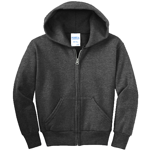 Dark Heather Gray Youth Full-Zip Hooded Sweatshirt
