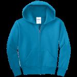 Neon Blue Youth Full-Zip Hooded Sweatshirt