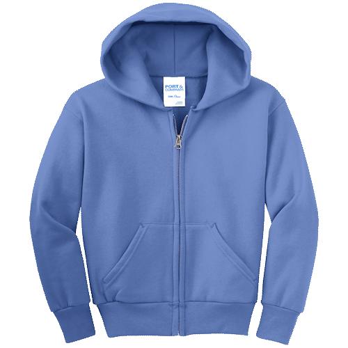 Carolina Blue Youth Full-Zip Hooded Sweatshirt