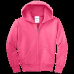 Neon Pink Youth Full-Zip Hooded Sweatshirt