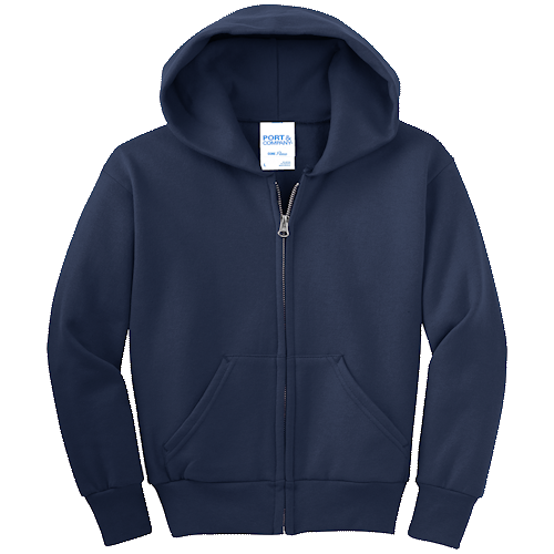 Navy Blue Youth Full-Zip Hooded Sweatshirt