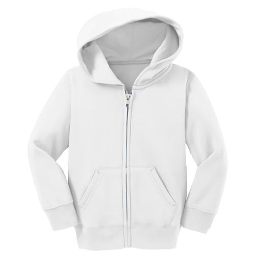 White Toddler Full-Zip Hooded Sweatshirt