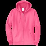 Neon Pink Full-Zip Hooded Sweatshirt