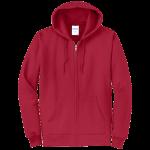 Red Full-Zip Hooded Sweatshirt