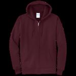 Maroon Full-Zip Hooded Sweatshirt