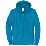 Neon Blue Full-Zip Hooded Sweatshirt