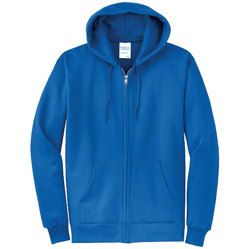 Royal Blue Full-Zip Hooded Sweatshirt