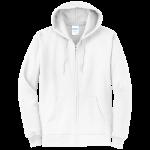 White Full-Zip Hooded Sweatshirt