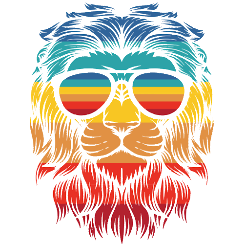 Lion With Sunglasses (Colorful)
