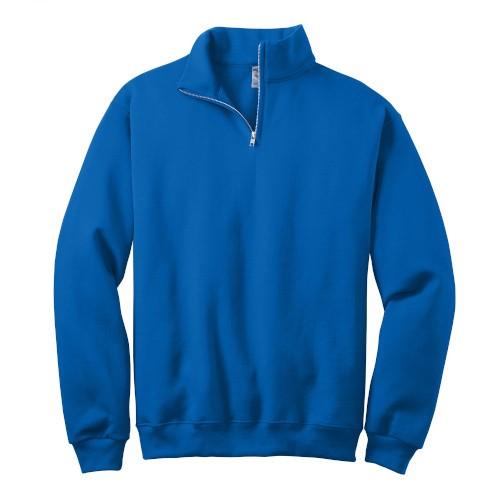 Royal Blue 1/4-Zip Cadet Collar Sweatshirt