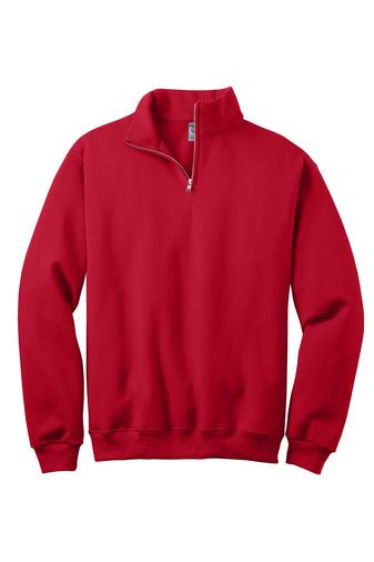 Red 1/4-Zip Cadet Collar Sweatshirt
