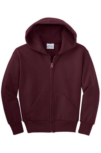 Maroon Youth Full-Zip Hooded Sweatshirt