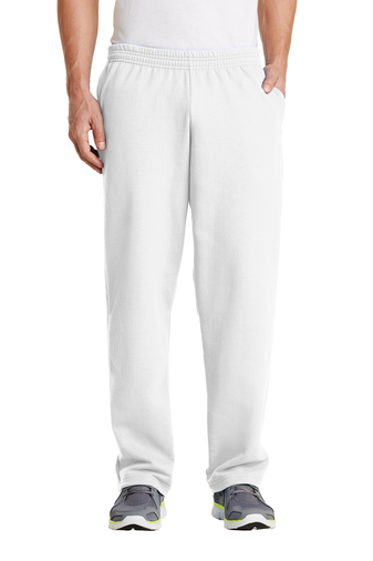 White/Open Cuff Sweatpant with Pockets