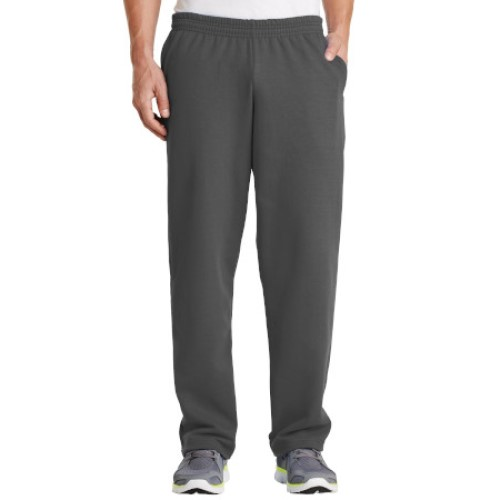 Charcoal/Open Cuff Sweatpant with Pockets