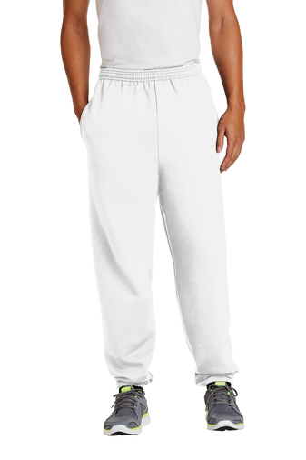 White/Elastic Sweatpant with Pockets