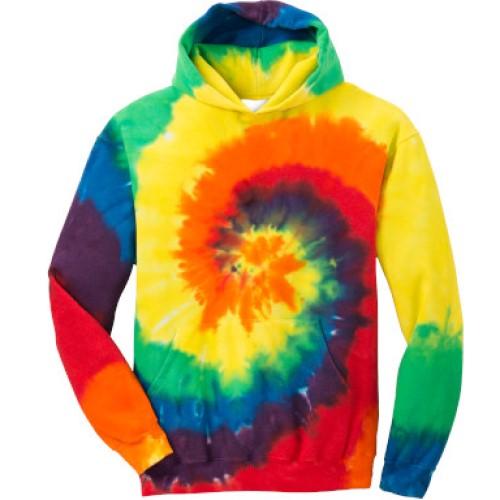 Tie Dye Rainbow Youth Pullover Hooded Sweatshirt