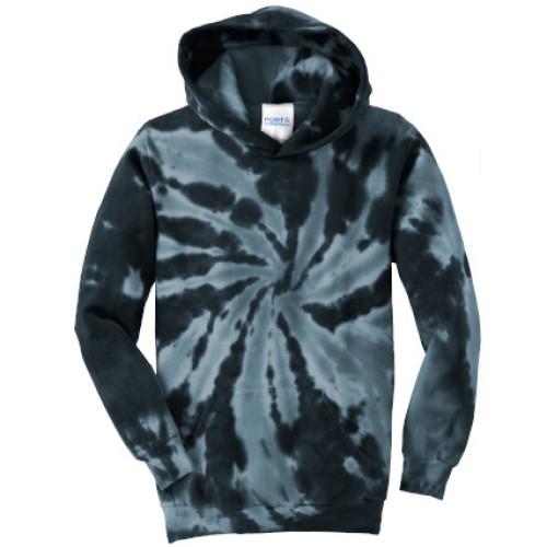 Tie Dye Black Youth Pullover Hooded Sweatshirt