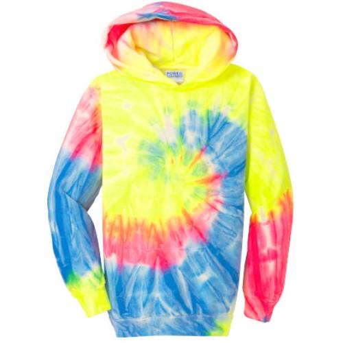 Tie Dye Neon Rainbow Youth Pullover Hooded Sweatshirt