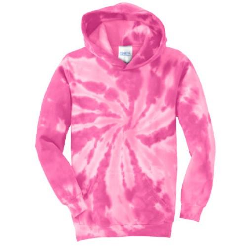 Tie Dye Pink Youth Pullover Hooded Sweatshirt