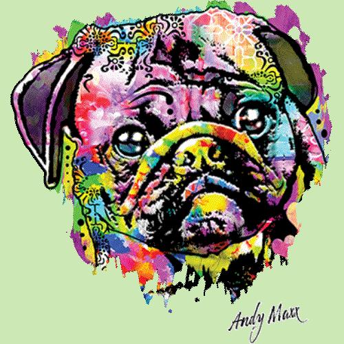 Dog Pug (Colorful)