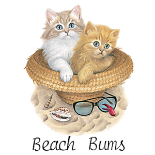 Beach Bums (cats in hat)
