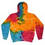 Tie Dye Multi Rainbow Youth Pullover Hooded Sweatshirt