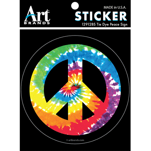 PEACE SIGN TIE DYE STICKERS