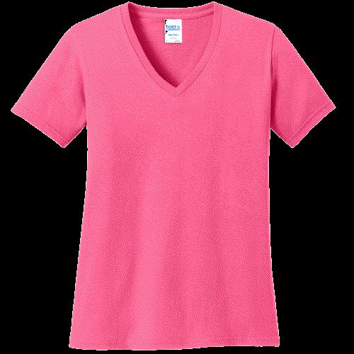 Neon Pink Ladies V-Neck Tee